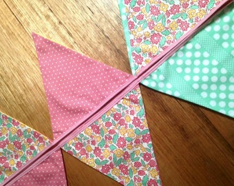 Pretty Floral, Shabby Chic Bunting Flags Banner PINK GREEN
