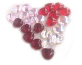 Heart Beads Mix Red Pink Crystal Czech Glass Valentine Day 8mm