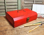 Free Shipping Metal Tool box  Small Red  with lid and latch shabby chippy organization Free Shipping