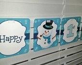Winter Snowman Birthday Banner / Snowman Birthday Party / Snowman Banner / Snowman Birthday Party /Winter Birthday Banner/Boy Snowman Banner