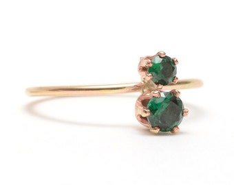Luxe Emerald Ring, Ethical Emerald, 14k Gold Emerald Ring, Emerald Green Stone, Cheap Engagement Ring - Emerald Binary Ring
