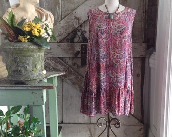 Sale 1990s batik print tunic top 90s sleeveless tent dress size medium large Vintage festival babydoll