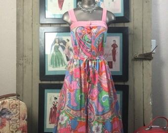 Fall sale 1960s sundress 60s psychedelic dress size small Vintage sleeveless dress pink summer dress