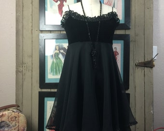 1990s babydoll dress 90s chiffon dress size small Vintage dress black empire waist dress