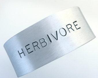 The Doublewide- Herbivore Cuff Bracelet-Vegan Bracelet-Vegan Jewelry-Vegan Gift-Plant Based-Birthday-Anniversary