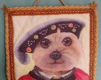 Yorkshire Terrier dog handmade art quilt textile wall hanging