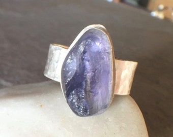 ON SALE - Raw Iolite Sterling Silver Wide Band Bold Ring - US Size 8.5