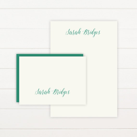 SCRIPT Personalized Stationery + Notepad Set, Personalized Notepad and Personalized Stationary
