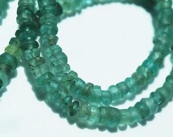 8 inch Strand, Green Apatite Matte Rondelle Beads, 4x3MM