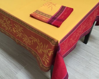 French Jacquard Tablecloth, Red and Yellow Tablecloth and Napkins, Coated Tablecloth