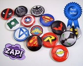 Superheros Magnets, Superheros Pins, Superheros Cabochons, Superhero Party Favor, Superhero Wedding Favors, Fan Collection No. 1