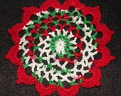 "New Handmade Crocheted ""83"" Coaster/Doily in Christmas and Victory Red"