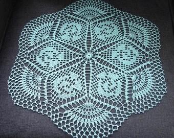 """New Handmade Crocheted """"Emerald Isle"""" Doily in Aqua - 21"""""""
