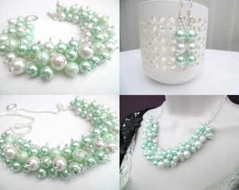 Mint Green White and Crystal Beaded Jewelry Set, Necklace Bracelet and Earrings, Cluster Jewelry, Bridesmaids Sets Gifts, Chunky Jewelry
