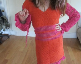 FELICITY SHAGWELL DRESS,  crochet dress, Fecility shagwell's crochet dress,  Hallowen Costume, Felicity Shagwell Costume, Mod dress