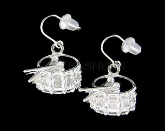 Swarovski Crystal Pipe Band Bass Snare Drum Jazz Music Jewelry Musical Instrument Dangle Earrings Musician Teacher Instructor Student Gift