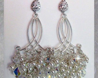 Victorian Style Bridal Earrings, Sterling Silver, Swarvoski Crystal and Pearl Cluster Chandelier Earrings, Hollywood, Great Gatsby Style