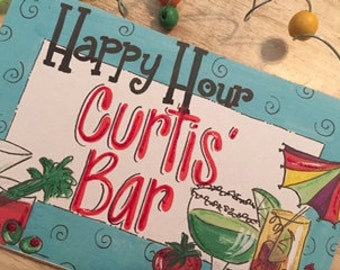 Hand personalized cute bar sign full of cocktails