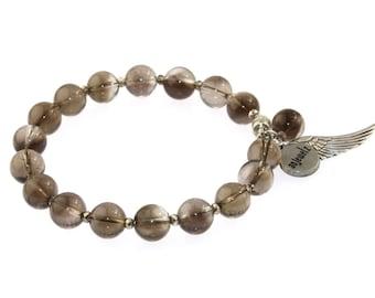 Smokey Quartz Silver Bracelet / Beaded Bracelet
