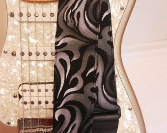 black and gray flames guitar strap