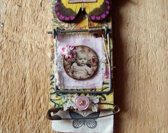 """Altered Mouse Trap """"Butterfly Kisses"""", Mixed Media, Art, Ornaments FREE SHIPPING!!"""