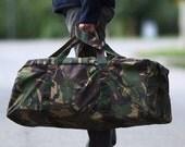 Large DUFFLE Bag 90s Military Army Duffel Bag Camo Roomy Thick Canvas Waterproof Durable Gym Bag Travel Luggage Khaki Green Men Gift Idea