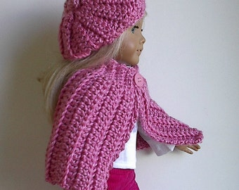 "18"" Doll Clothes Crocheted Doll Cape and Beret in Rose Pink Handmade to fit the American Girl and Other 18 Inch Dolls"