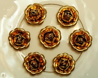 Vintage Brass Rose Flower Findings