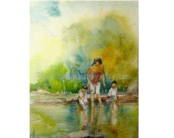 Mother and children, garden 5x7 original watercolor, cityscape , not a print, id1330204, singapore, wallart, kampong, river