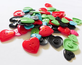 75 Heart Buttons in Assorted Colors & Sizes