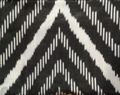 Silk Ikat Handwoven Black White Zigzag