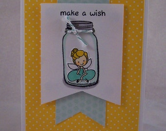 Captured Fairy Card - Fairy in a Mason Jar Greeting Card - Fairy Note Card - Trapped Fairy Birthday Card - Make a Wish