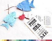50 Seed Fish in the Sea - Plantable Save the Date Card Set - Wedding Invitation - DIY