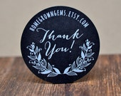 Customized Stickers - White Print on Chalkboard Black Labels Kraft Brown - Flower Floral Wreath Thank You Design