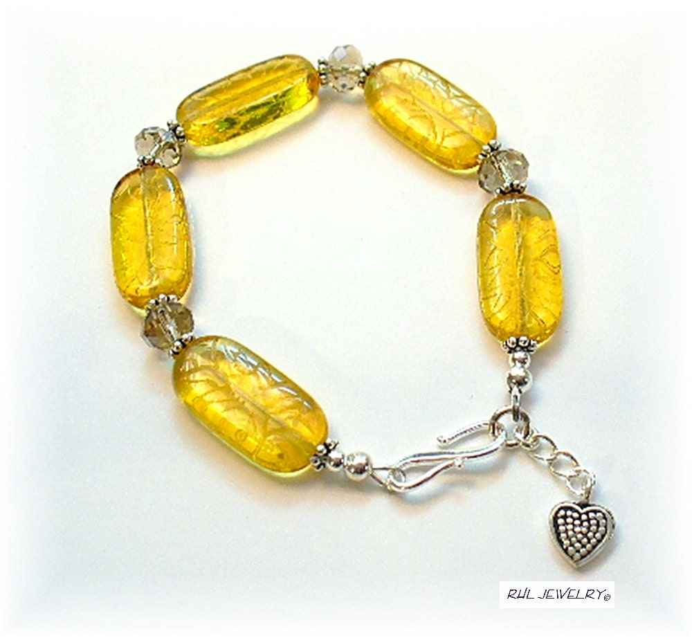yellow bracelet yellow beaded bracelet citron yellow fall
