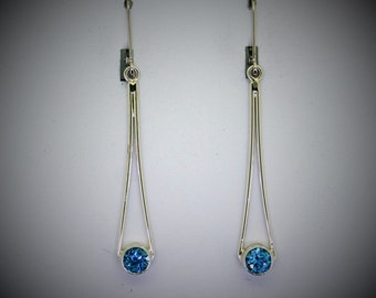 Sterling Silver and Blue Topaz Earrings, Recycled silver with genuine blue topaz