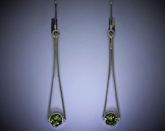 Sterling Silver Dangle Earrings, Silver Earrings with Peridot, Recycled Silver Earrings