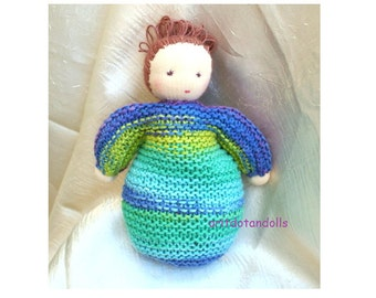 Hand knitted Waldorf doll 7inch made of eco and natural materials