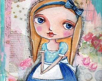 Alice painting, Alice in Wonderland,  Children's art, Home decor, 8 x 10 print Big eyed girl