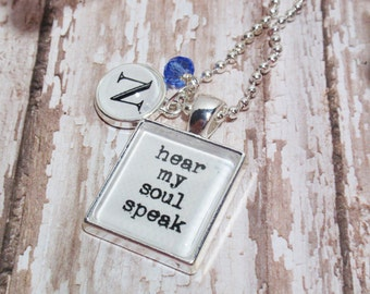 Scrabble Tile Size- Glass Bubble Pendant Necklace With 1 Tiny Bubble Initial & Crystal Dangle-Hear My Soul Speak