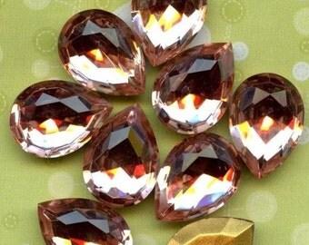 SPRING SALE - Rosaline Peach 18x13mm Pear Glass Rhinestone Jewels  (36-3F-2)