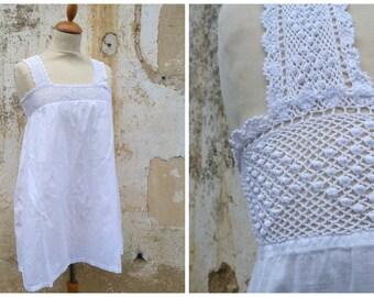 Vintage Antique French 1900 Edwardian white cotton caraco tunique underdress large white cotton lace XXS
