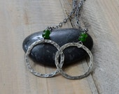 Russian Diopside Double Ring Necklace in Sterling Silver