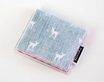 Handmade Vinyl Moo Square Card Holder - My Dear / case, vinyl, snap, wallet, paper, mini card case, moo case, square, deer wallet, gingham