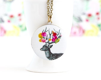 Woodland Locket - Deer -  - Reindeer Locket - Photo Locket - Painted Locket Necklace - Gift For Young Woman - Gift For Her