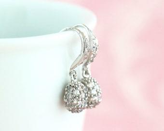Wedding Earrings - Bridesmaids Gifts - Evening Earrings - Silver Drop Earrings - Sophisticated Earrings - Gift For Woman - Classic Earrings