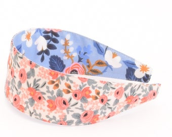 Special Edition REVERSIBLE Rifle Paper Co Les Fleurs Rosa in Peach Comfort Fit Fabric Headband