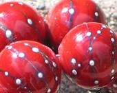 Handmade Glass Lampwork Beads, focal filler art bead Medium Cherry Red/Pure Silver 11mm round