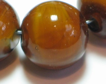 "Handmade Glass Lampwork Beads, ""Dark Amber"", 11mm round focal filler functional art"