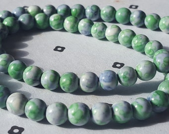 6mm Green white and Blue Dyed Jade full strand